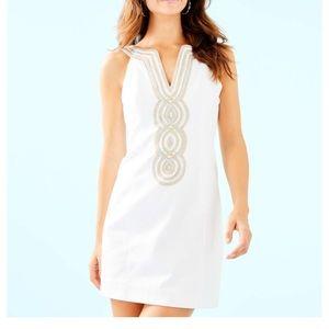 Like New Lily Pulitzer White & Gold  Dress 4 S